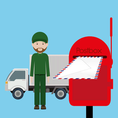 paper delivery person: postal service design, vector illustration eps10 graphic Illustration