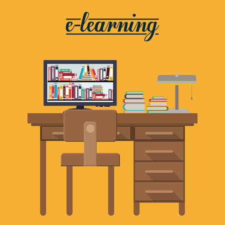 e work: e-learning concept design Illustration