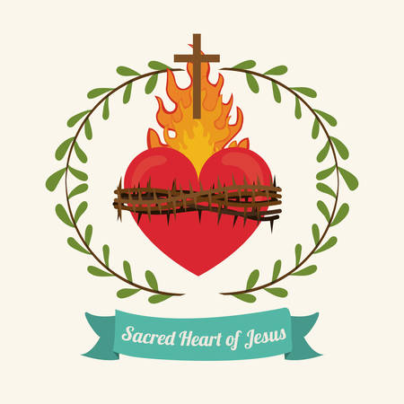 fire heart: sacred heart of jesus design, vector illustration eps10 graphic Illustration