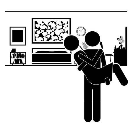 inside house: couple life design, vector illustration eps10 graphic