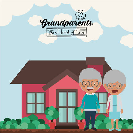 family outside house: happy grandparents design, vector illustration eps10 graphic