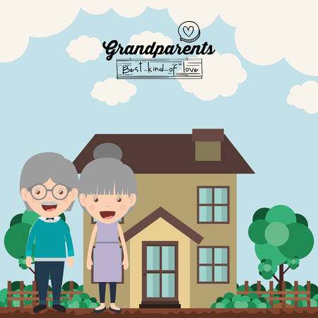 outside the house: happy grandparents design, vector illustration eps10 graphic