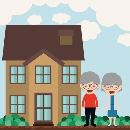 family outside house: happy grandparents design, vector illustration eps10 graphic