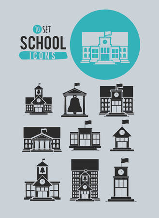 escuela edificio: diseño de conjunto de iconos de la escuela, ejemplo gráfico del vector eps10 Vectores