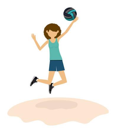 balon voleibol: diseño avatar atleta, ejemplo gráfico del vector eps10 Vectores