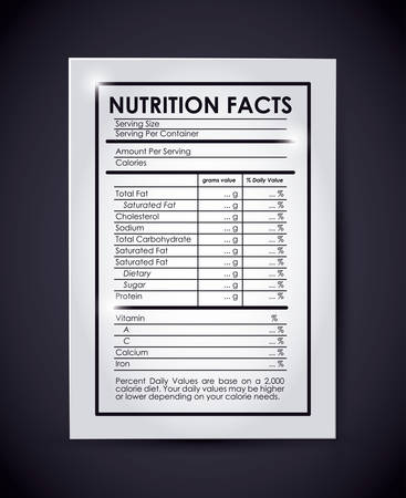 dietary fiber: nutrition facts design, vector illustration eps10 graphic