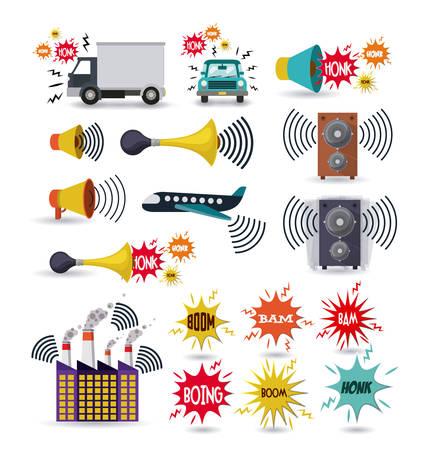 騒音公害のデザイン、ベクトル図 eps10 グラフィック  イラスト・ベクター素材