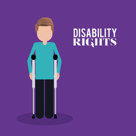 crutch: disability rights design, vector illustration eps10 graphic