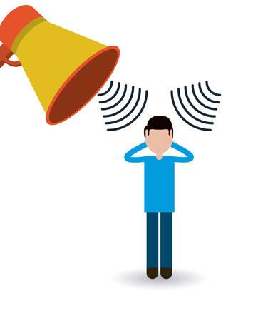 la conception de la pollution sonore, vecteur illustration graphique