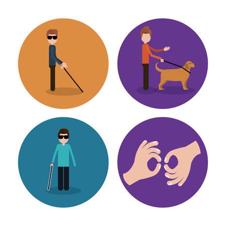 blind dog: disability rights design, vector illustration graphic
