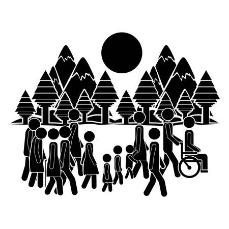 pictogram people: people walking design, vector illustration