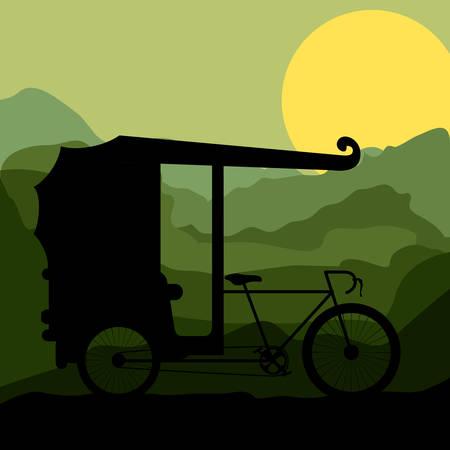 rikscha: Rikscha Transportation Design, Vektor-Illustration eps10 Grafik