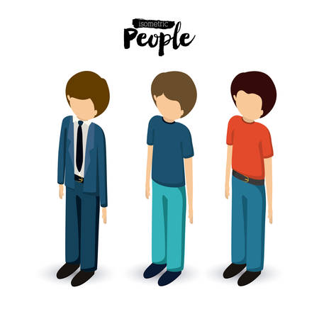 different jobs: isometric people design, vector illustration eps10 graphic