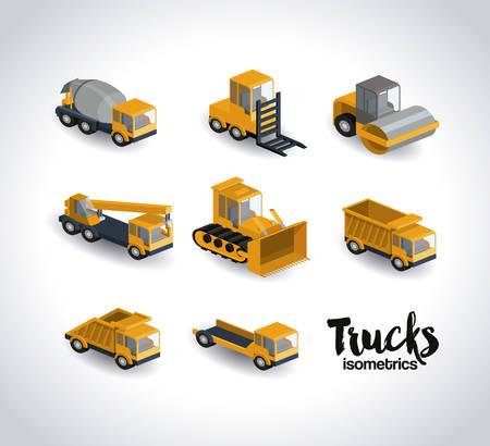 camions isométriques conception, vecteur illustration graphique eps10