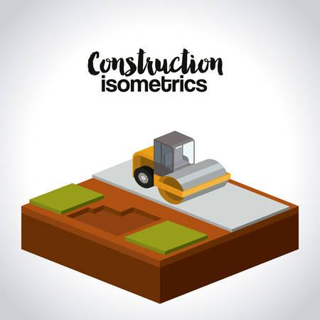 steamroller: construction isometrics design, vector illustration eps10 graphic