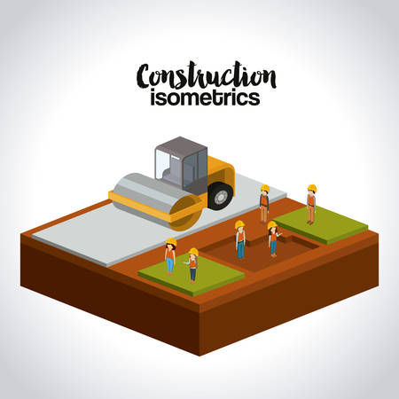 steamroller: construction isometrics design, vector illustration eps10 graphic