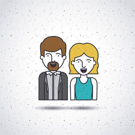 design media love: flat line people design, vector illustration eps10 graphic