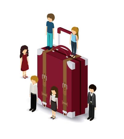 unrecognizable person: travel isometrics design, vector illustration eps10 graphic