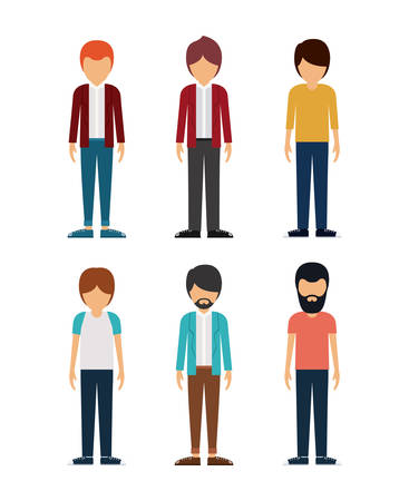 young men: group of young men design, vector illustration eps10 graphic
