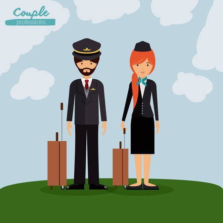 an attendant: pilot and flight attendant design, vector illustration eps10 graphic