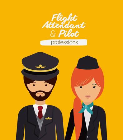 flight attendant: pilot and flight attendant design, vector illustration eps10 graphic