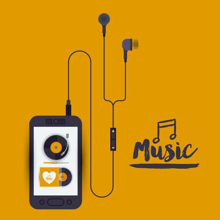 portable audio: mobile music design, vector illustration eps10 graphic