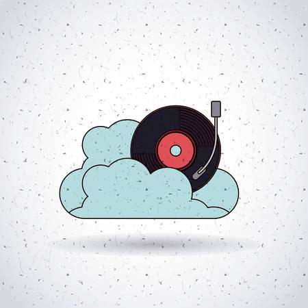 vinyl disk player: mobile music design, vector illustration eps10 graphic