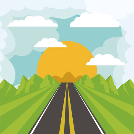 cloudy day: road landscape design, vector illustration eps10 graphic