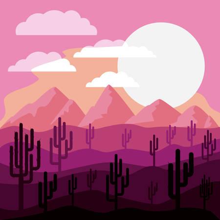 arizona sunset: desert landscape design, vector illustration eps10 graphic