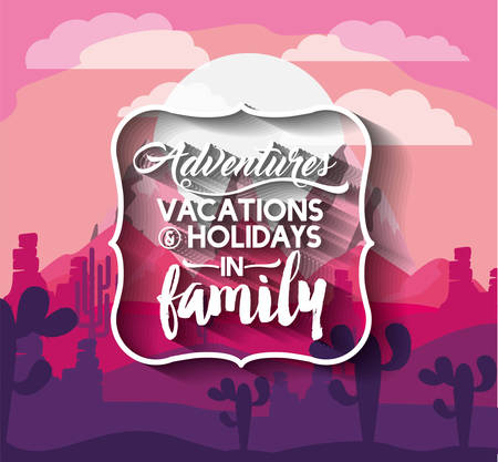 arizona sunset: vacations in family design, vector illustration eps10 graphic