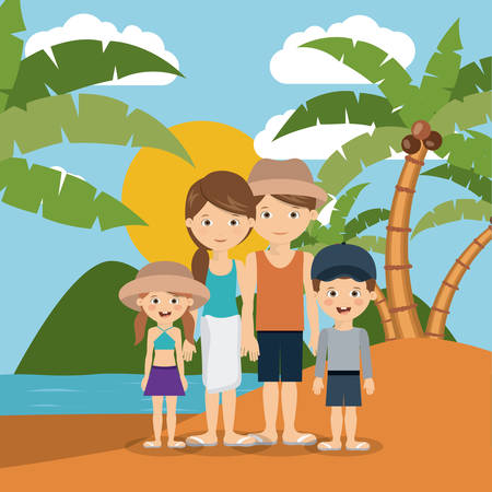 dad daughter: summer vacations in family design, vector illustration eps10 graphic Illustration