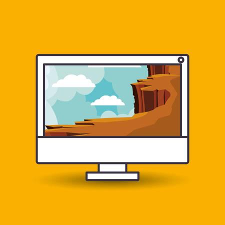 precipice: landscape wallpaper for desktop computer design, vector illustration eps10 graphic