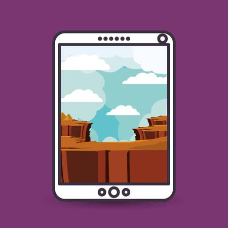precipice: landscape for wallpaper smartphone design, vector illustration eps10 graphic