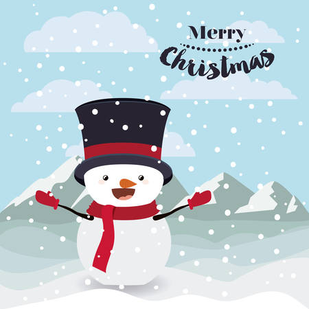 snowscape: funny Christmas character isolated icon design, vector illustration  graphic