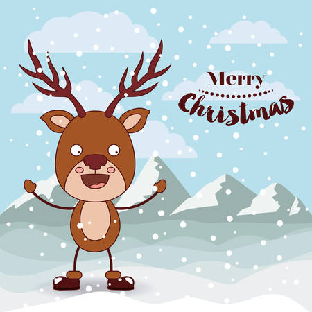 funny christmas: funny Christmas reindeer character isolated icon design, vector illustration  graphic Illustration