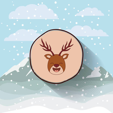 snowscape: funny Christmas reindeer character isolated icon design, vector illustration  graphic Illustration