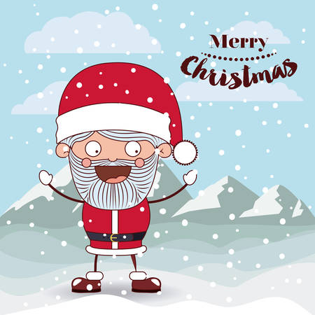 snowscape: funny Christmas santa claus  character isolated icon design, vector illustration  graphic