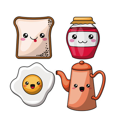 breakfast character isolated icon design, vector illustration  graphic  イラスト・ベクター素材