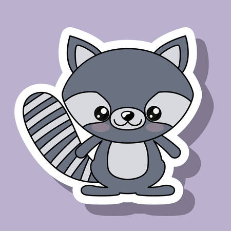 kawaii: raccoon character kawaii style isolated icon design, vector illustration  graphic