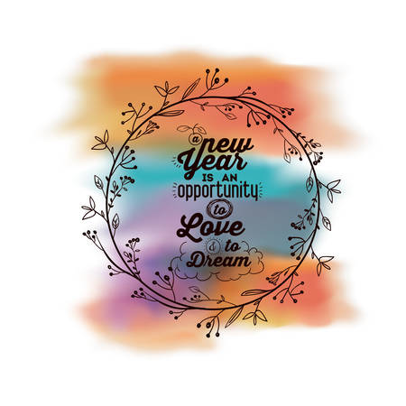 oportunity: New Year message on a background of water color isolated icon design, vector illustration  graphic