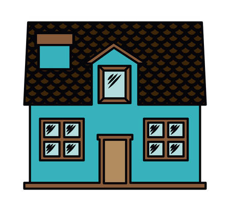 small town life: house exterior front isolated icon design, vector illustration  graphic