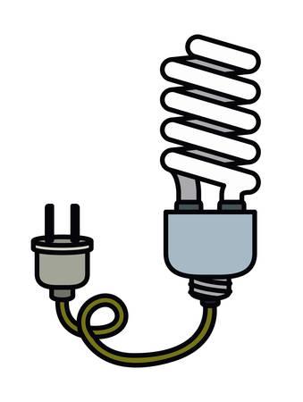 bombillo ahorrador: bombilla de ahorro con el dise�o de enchufe el�ctrico aislado icono, ejemplo gr�fico del vector Vectores