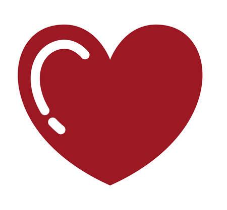 dibujo de corazón rojo aislado diseño de icono, gráfico de ilustración vectorial