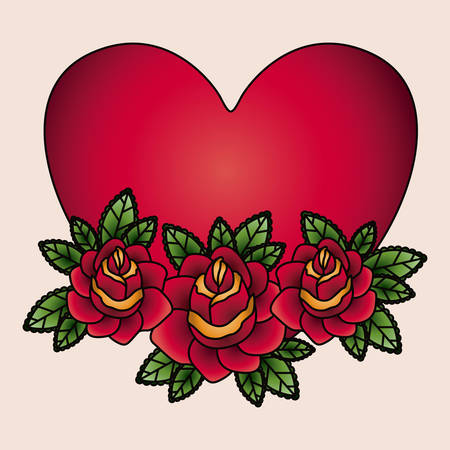 tatto: heart and flowers tatto isolated icon design, vector illustration  graphic