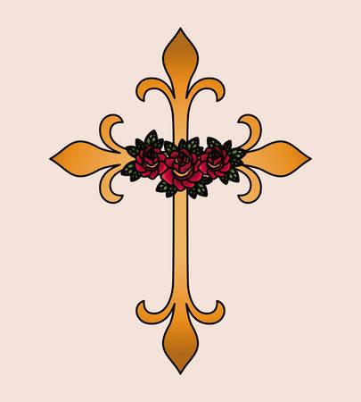 croix et fleur tatouage icône isolé design, vecteur illustration graphique