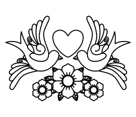 heart and birds tattoo isolated icon design, vector illustration  graphic Vectores