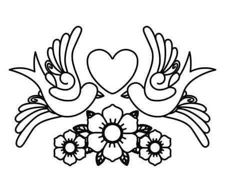 hart en vogels tattoo geïsoleerde pictogram ontwerp, vector illustratie grafische Vector Illustratie