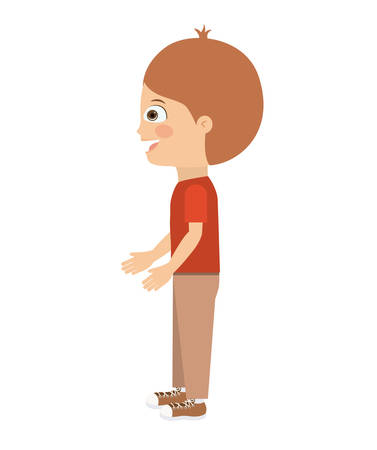 aside: boy standing looking aside isolated icon design, vector illustration  graphic Illustration