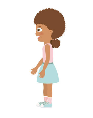 aside: girl standing looking aside isolated icon design, vector illustration  graphic