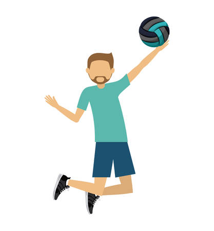 male athlete: male athlete practicing volleyball isolated icon design, vector illustration  graphic Illustration